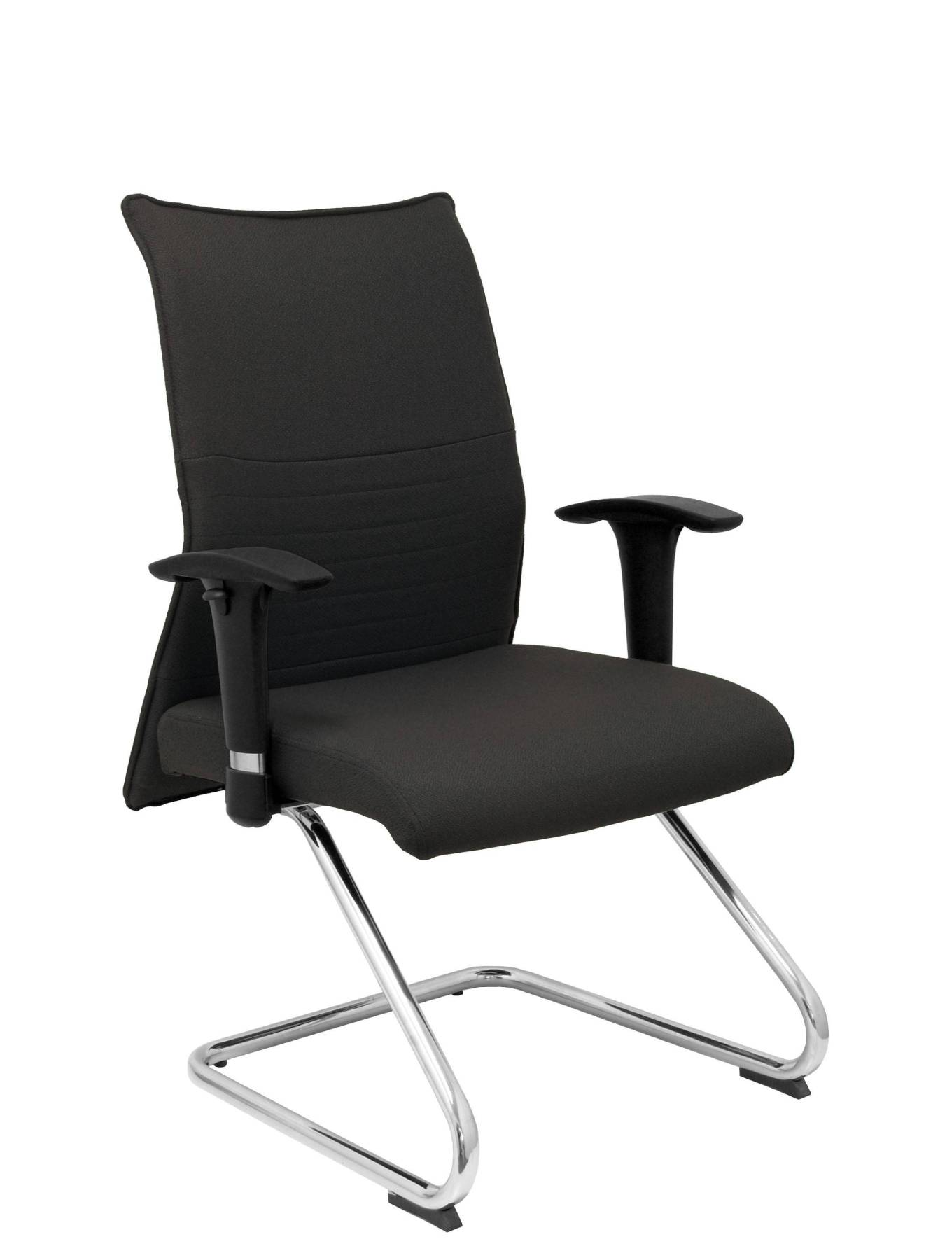Armchair Confidante Ergonomic For Visits With Skate Chrome Up Seat And Backstop Upholstered In BALI Tissue Color Black