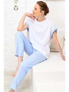 Trend Alacati Style Women Lilac Striped Sleepwear Suit ALC-X4068