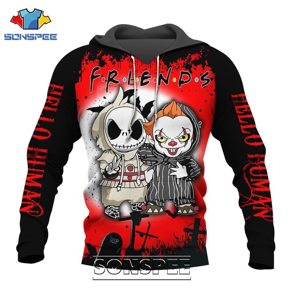 SONSPEE 3D Print Friends Horror Movie Pennywise Men's Hoodies Casual Jack Skellington Jacket Men Pullover Long Sleeve Sweatshirt