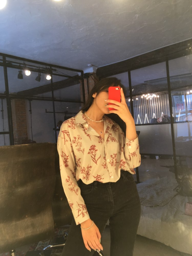 Spring Fashion Casual Long Sleeves Retro Slim Loose Single Breasted Fresh Blouse All Match Print Free Shirts photo review