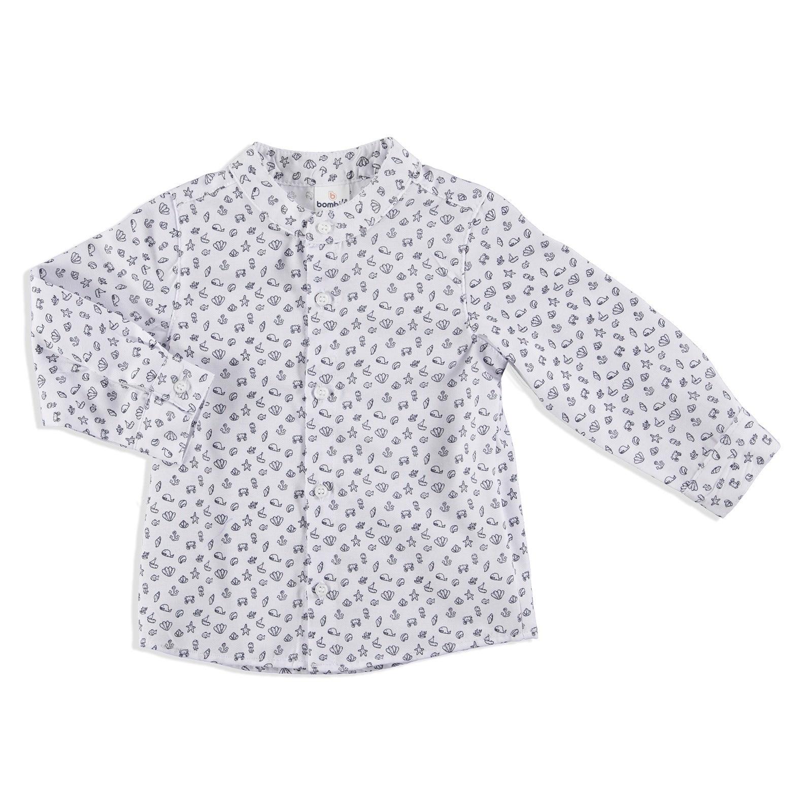 Ebebek Bombili Winter Summer Printed Baby Boy Judge Collar Shirt