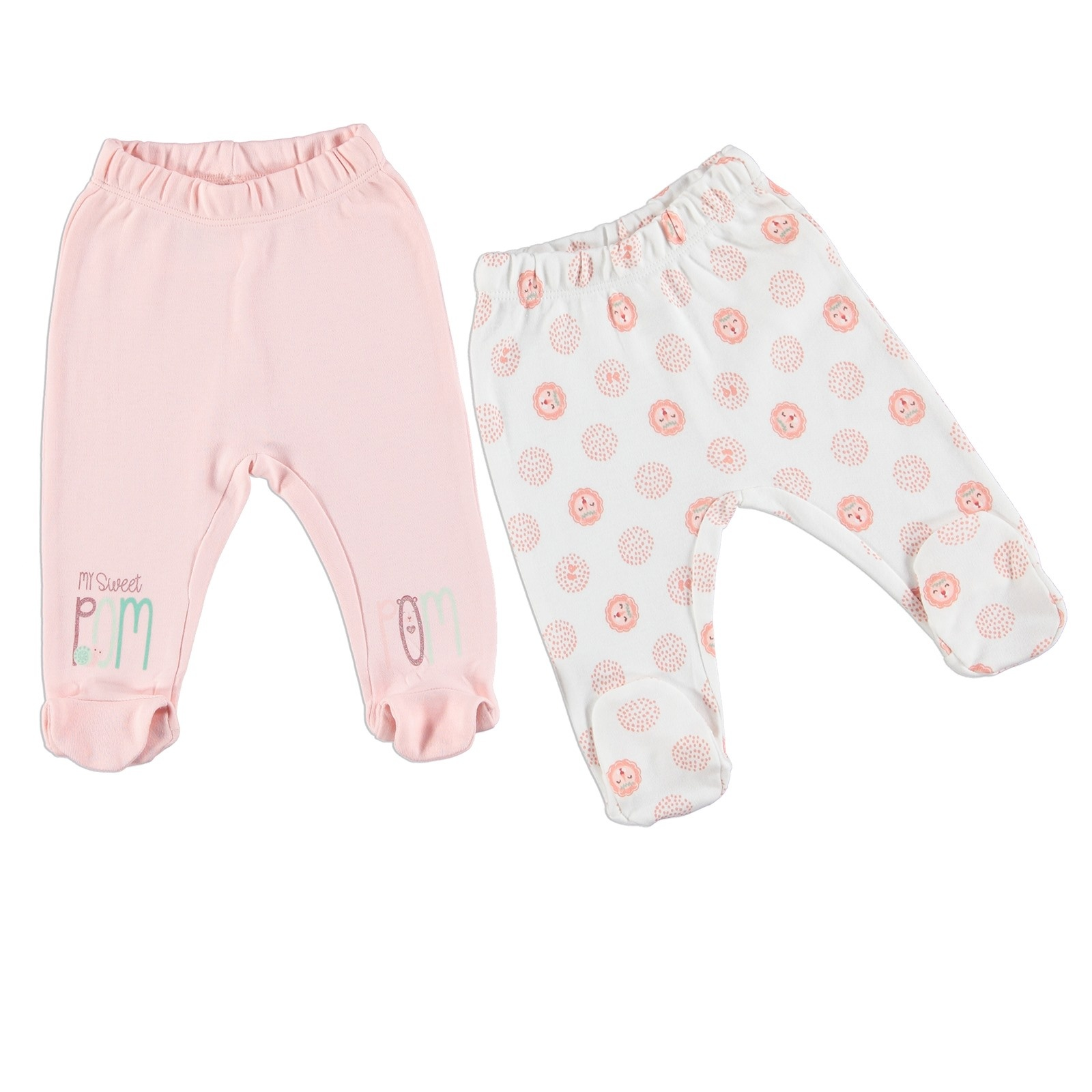 Ebebek Fisher Price Cute Pompoms Baby Girl Footed Trousers 2 Pack