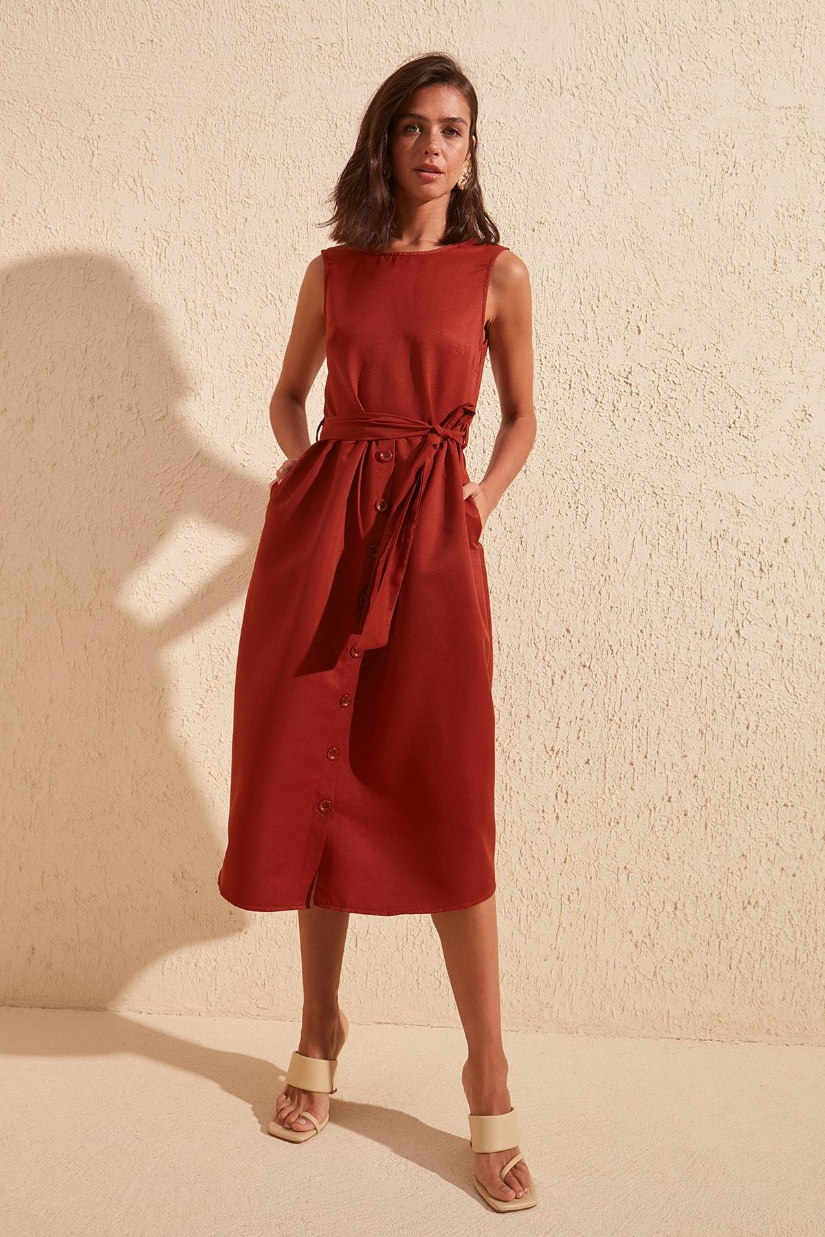 Trendyol Belted Button Dress TWOSS20EL1201