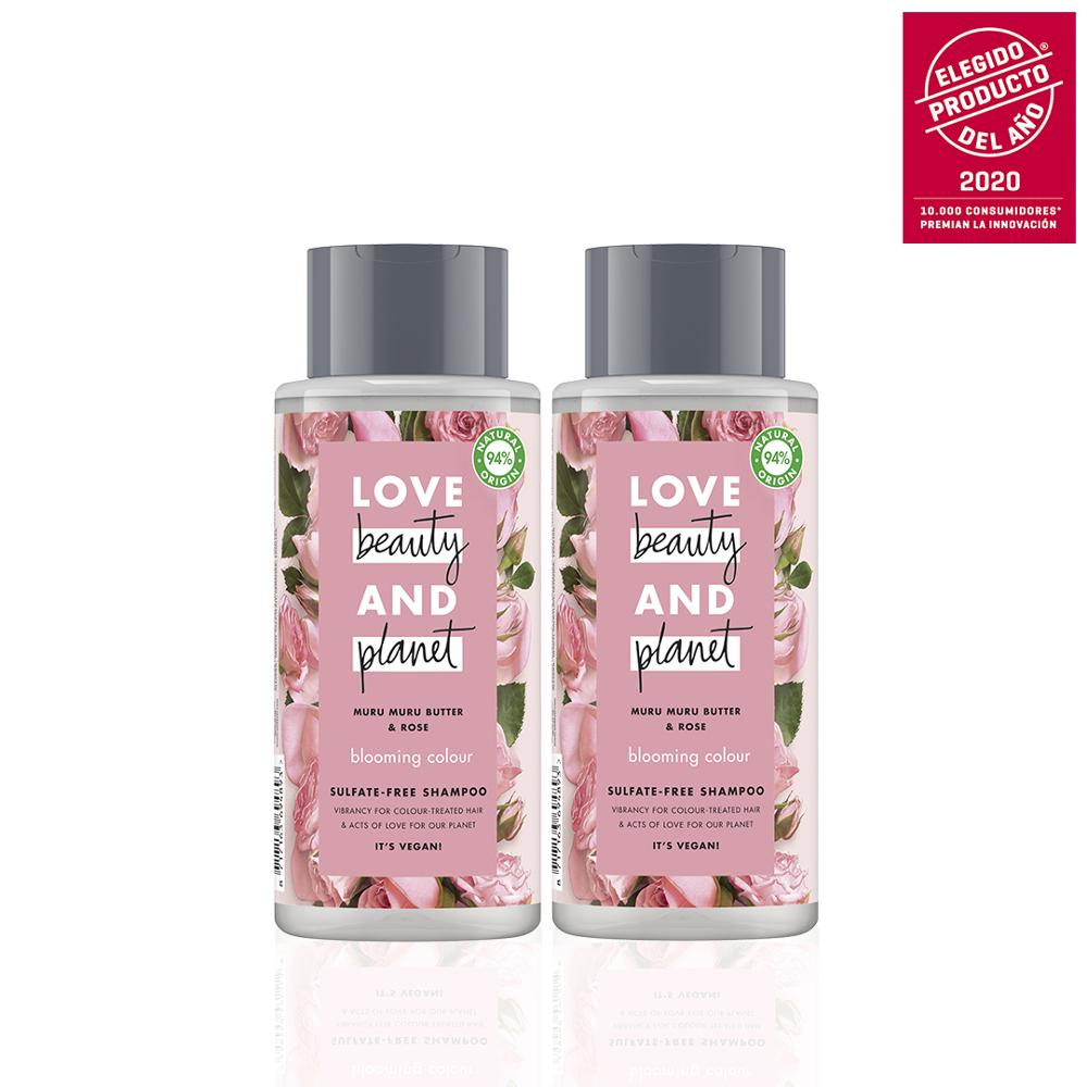 LOVE BEAUTY AND PLANET Set 2 shampoos for dry hair with shea butter Muru Muru AND pink vegan, package 100% recyclable image