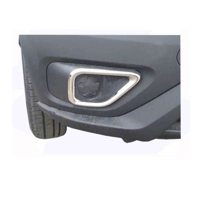 Auto Part ABS Chrome Exterior Headlight Eyebrow Cover Trims Front Light Lamp Frames Stripes for Fiat Doblo II Facelift 2014 UP 1