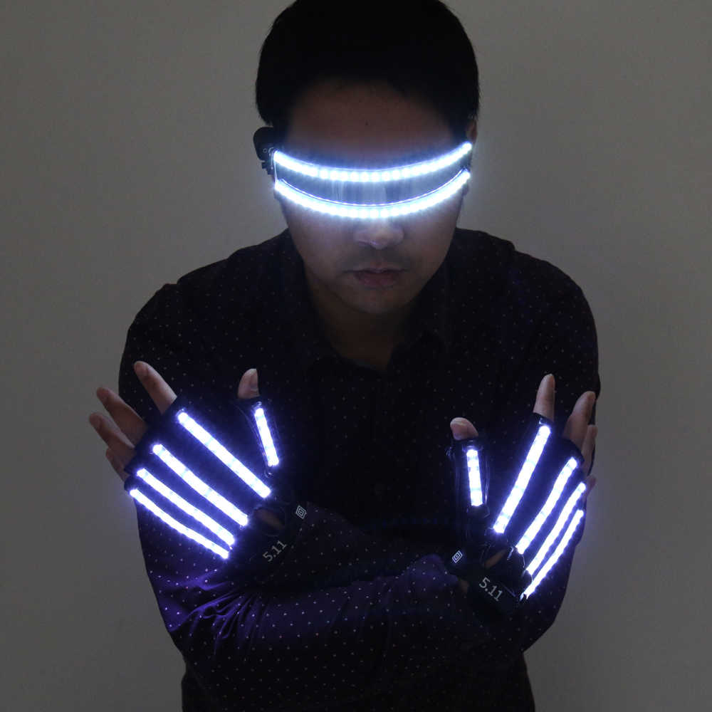 2019 2pcs LED Finger Flashing Gloves Light Up Halloween Xmas Dance Rave Party