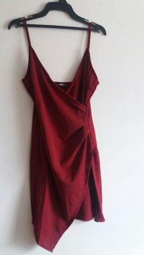 Burgundy Ruched Side Asymmetrical Hem Cami Dress Elegant Solid Sheath Mini Dress Autumn Modern Lady Women Party Dresses photo review