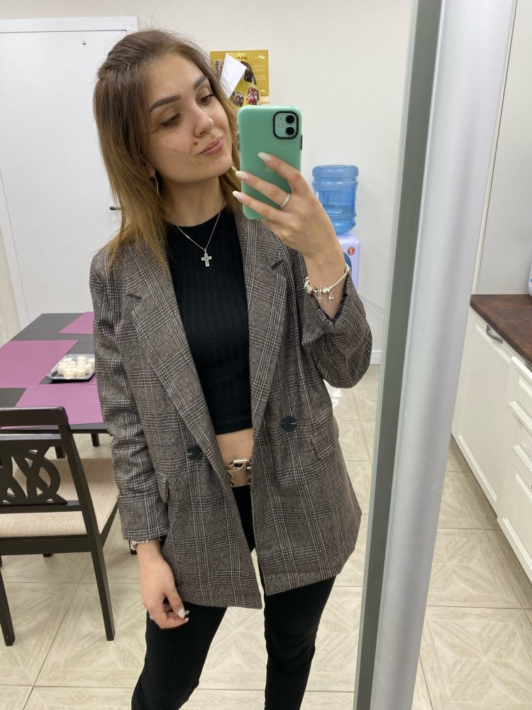 CBAFU autumn spring jacket women suit coats plaid outwear casual turn down collar office wear work runway jackets blazer N785 reviews №1 88682