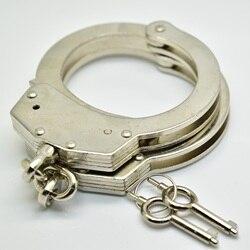 Professionelle Chrom-Nickel Überzogene Stahl Handschellen Polizei Verwenden 2 Tasten Pin Doppel Lock Struktur Kette Typ Mechanismus Handschellen