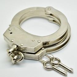 Profissional cromo-níquel chapeado aço algemas polícia usar 2 chaves pino duplo bloqueio estrutura tipo de corrente mecanismo algemas