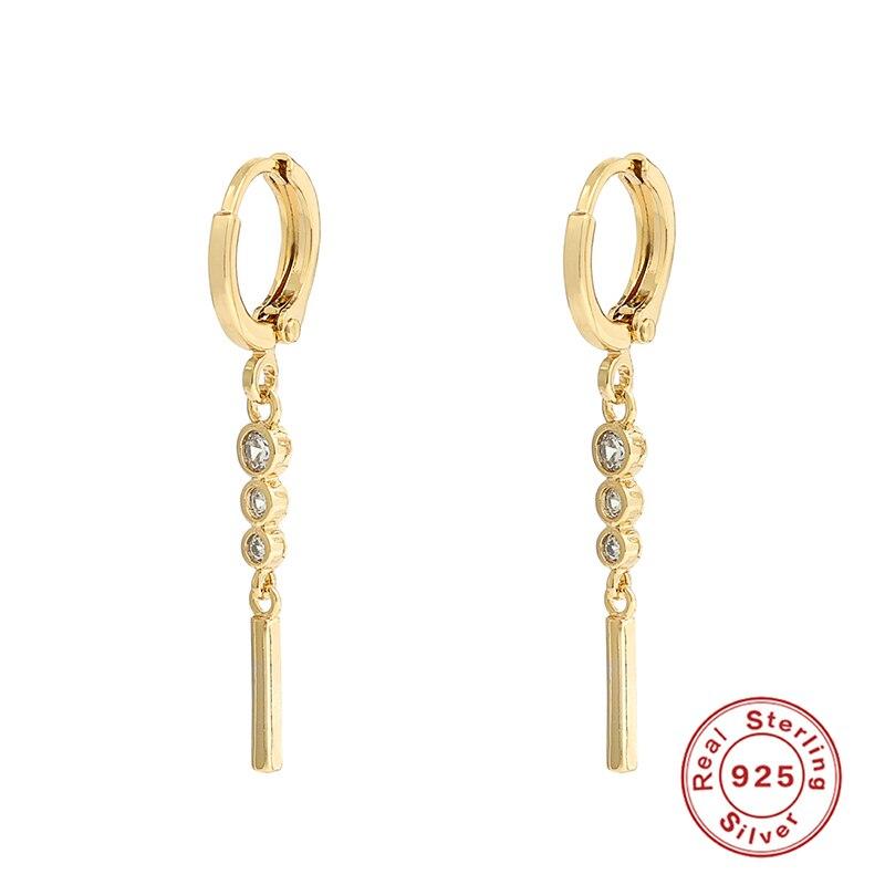 100% Real 925 Sterling Silver Bling Rainbow Zircon Huggies Tassels Small Drop Earrings For Women oorbellen brincos pendientes