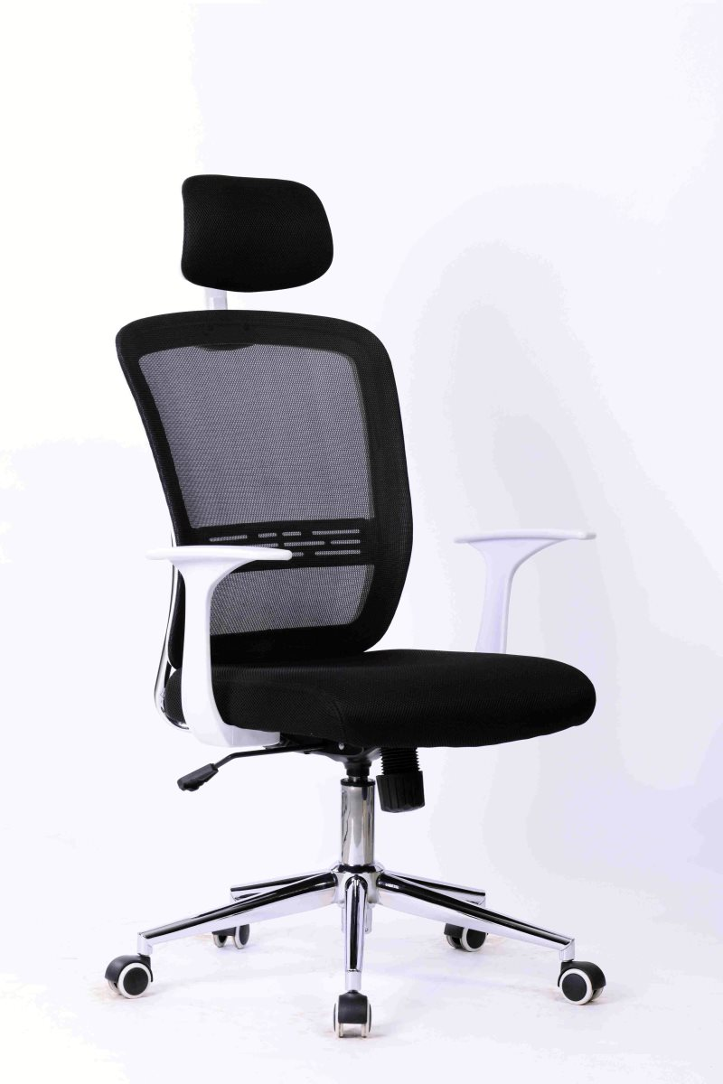 Office Armchair SAVONA, White, Gas, Rocker, Mesh And Black Fabric