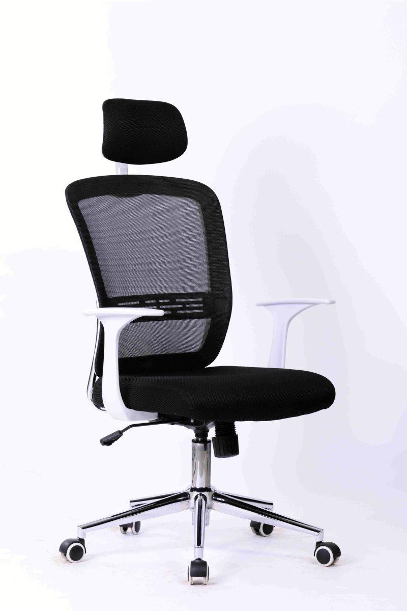 Office Armchair SAVONA, White, Gas, Rocker, Mesh And Black Fabric