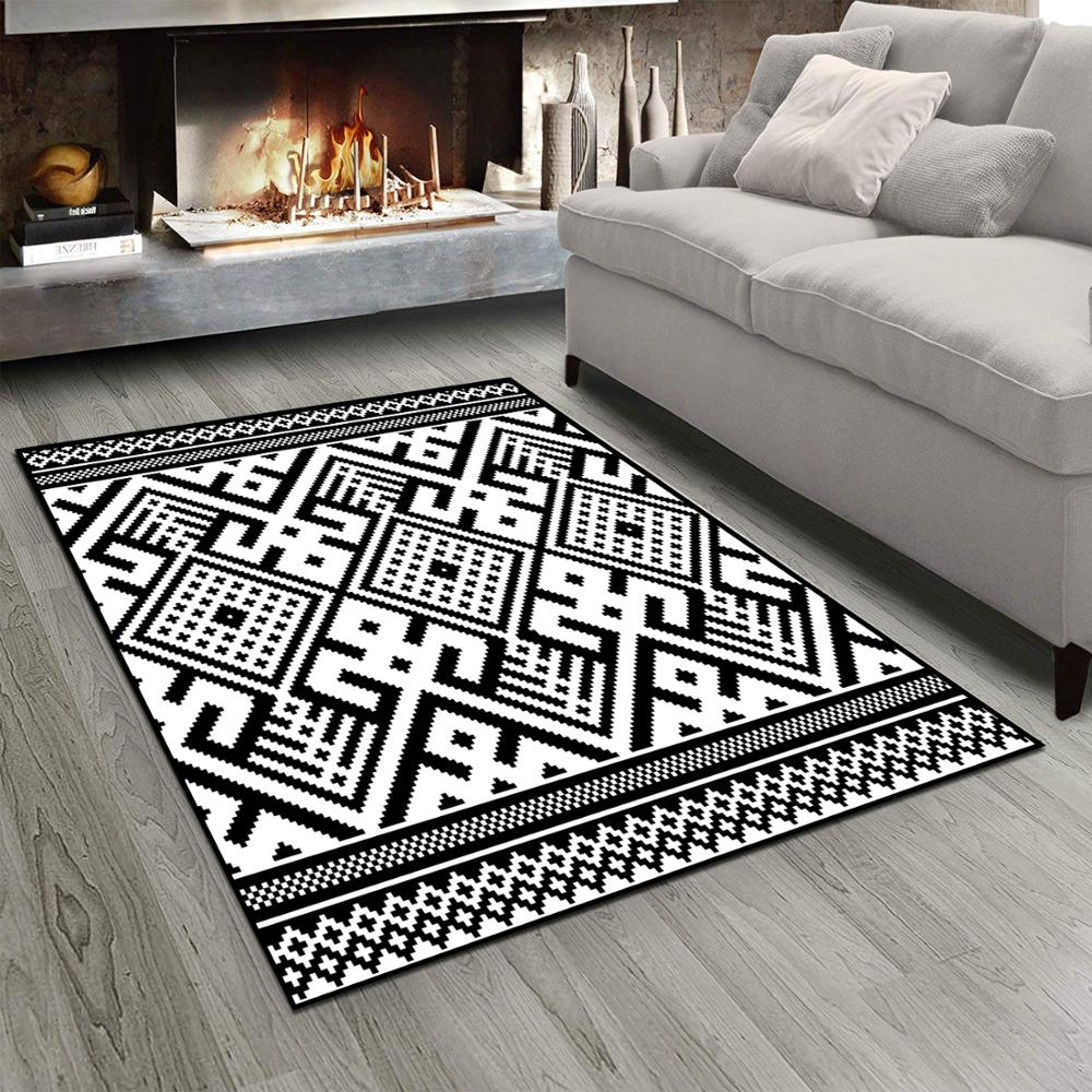 Else Black White Ethnic Geometric Retro Damask 3d Print Non Slip Microfiber Living Room Modern Carpet Washable Area Rug Mat
