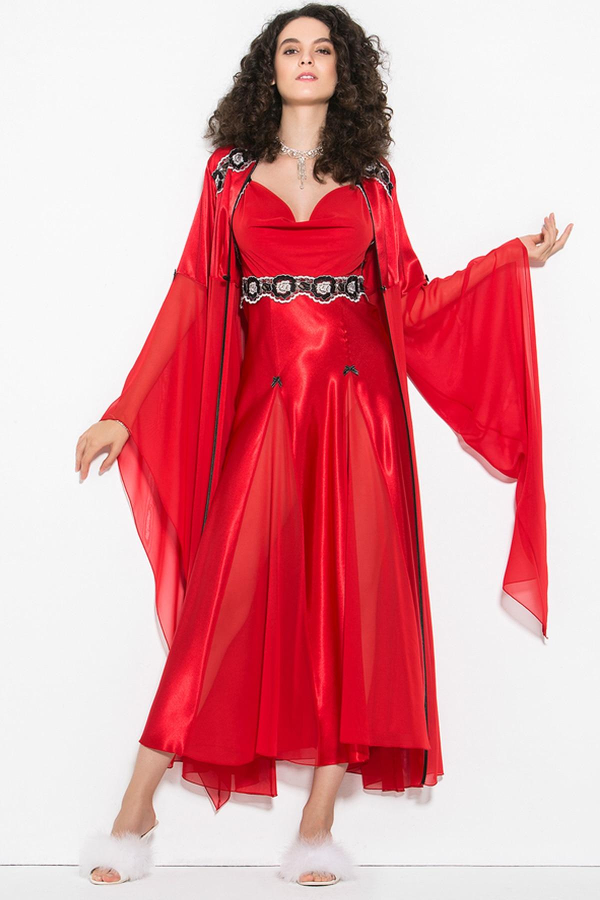 Far Drams 5502 Kadi Silk Satin Wide Sleeve Long Comfortable Night Wear At Home Cool Warm 2 Piece Nightgown Dressing Gown