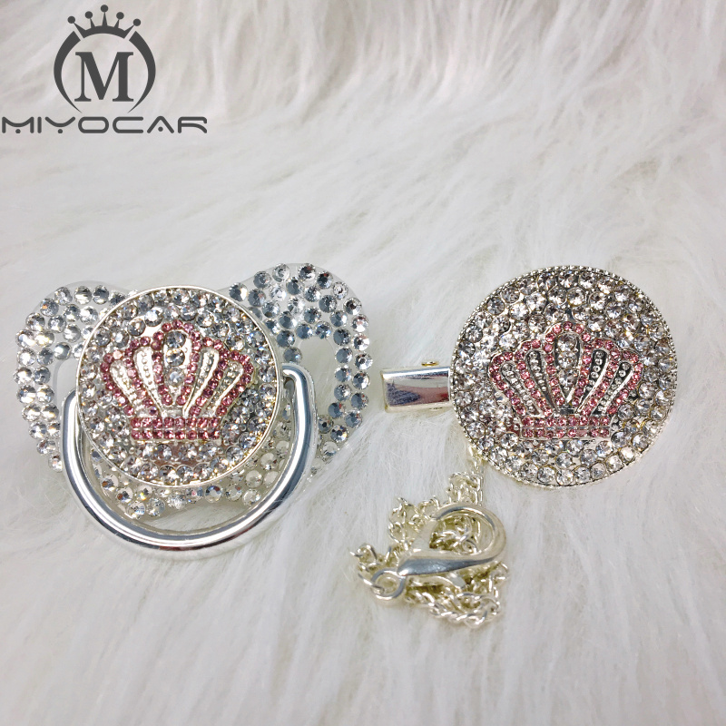 MIYOCAR White Bling Pink Crown Rhinestone Pacifier And Clip Set Pacifier Chain Holder Gold Pacifier White Rhinestone APCB-1-SW