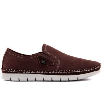 Sail Lakers-brązowe nubukowe buty męskie tanie i dobre opinie Prawdziwej skóry Gumowe Slip-on