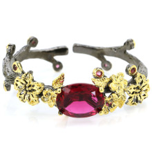 58x20mm SheCrown Vintage Big Heavy 32.6g Created Pink Tourmaline Black Gold Silver Bangle Bracelet 7.5inch