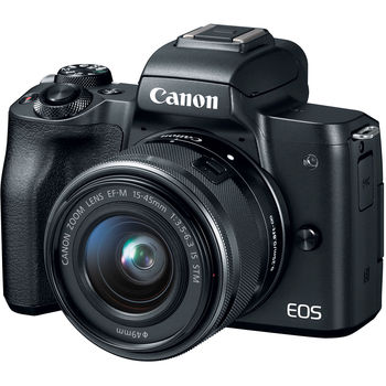 Canon M50 Mirrorless Camera with EF-M 15-45mm f/3.5-6.3 IS STM Lens, Black -24.1MP APS-C -4K -Vari-Angle Touchscreen -Wifi