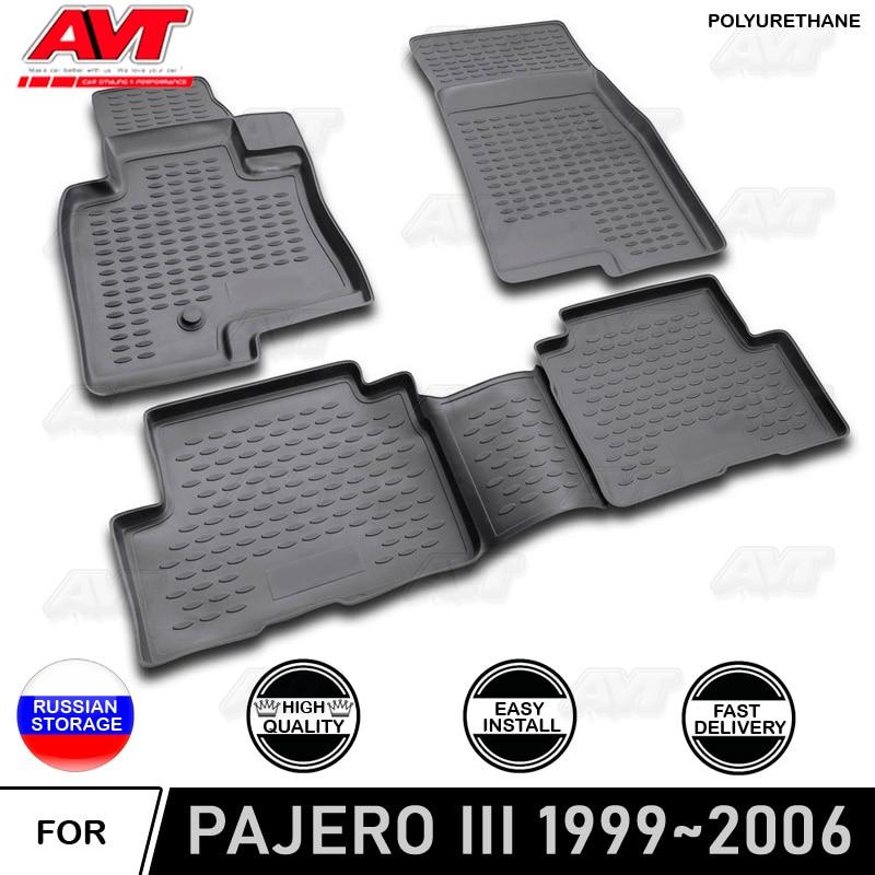 Tapetes para Mitsubishi Pajero III 1999 ~ 2006 5 PORTAS tapetes antiderrapante de borracha de poliuretano interior car styling acessórios decoração de proteção sujeira