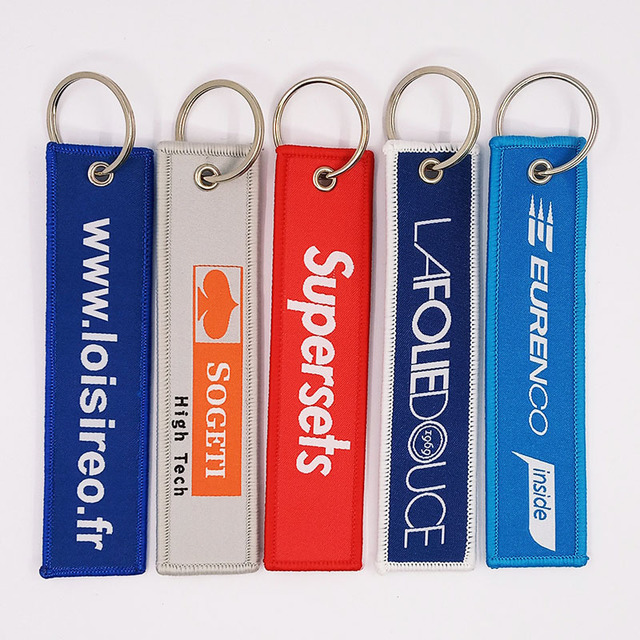 Woven Keychain Embroidery Keychain 13*3CM With Metal Ring As Customized Design Free Shipping