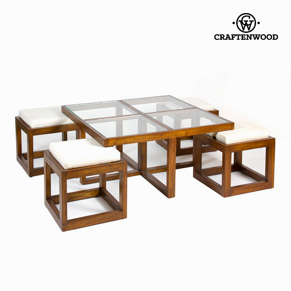 F-142 Coffee Table Set With 4 Chairs - Serious Line Collection By Craftenwood