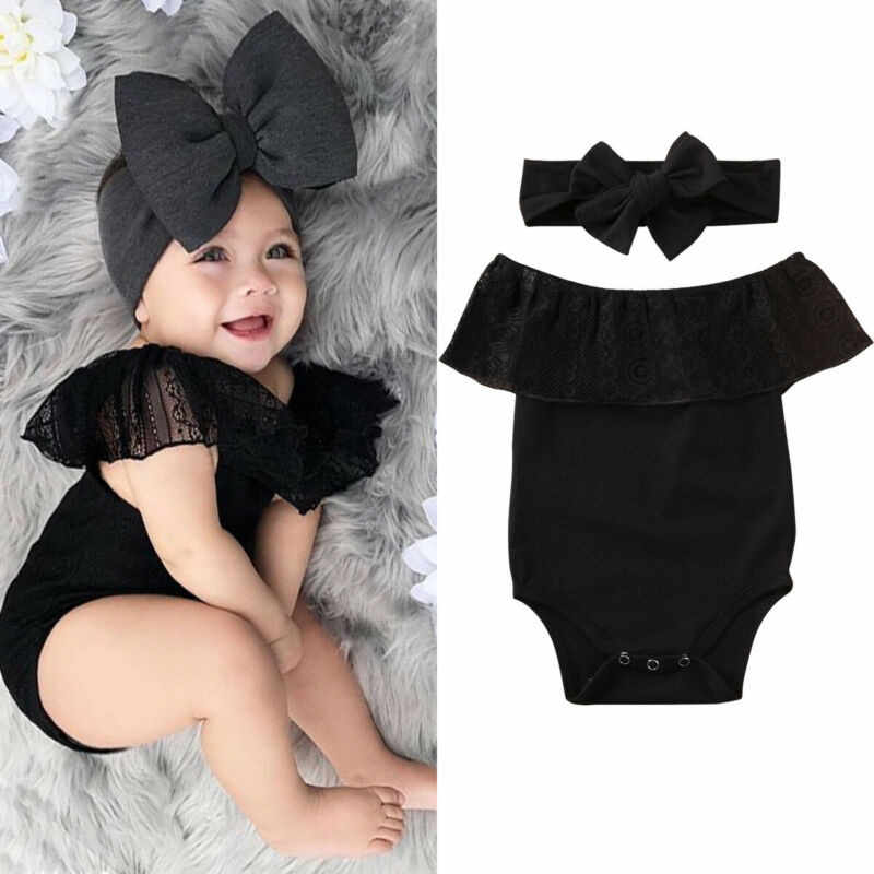 Date 2 pièces nouveau-né bébé fille vêtements barboteuse body bandeau tenue ensemble Indent filles doux dentelle barboteuse body noir