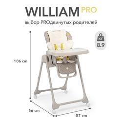 Silla alta para niños Happy Baby WILLIAM PRO, hasta 20 kg, 4 ruedas giratorias, forro suave