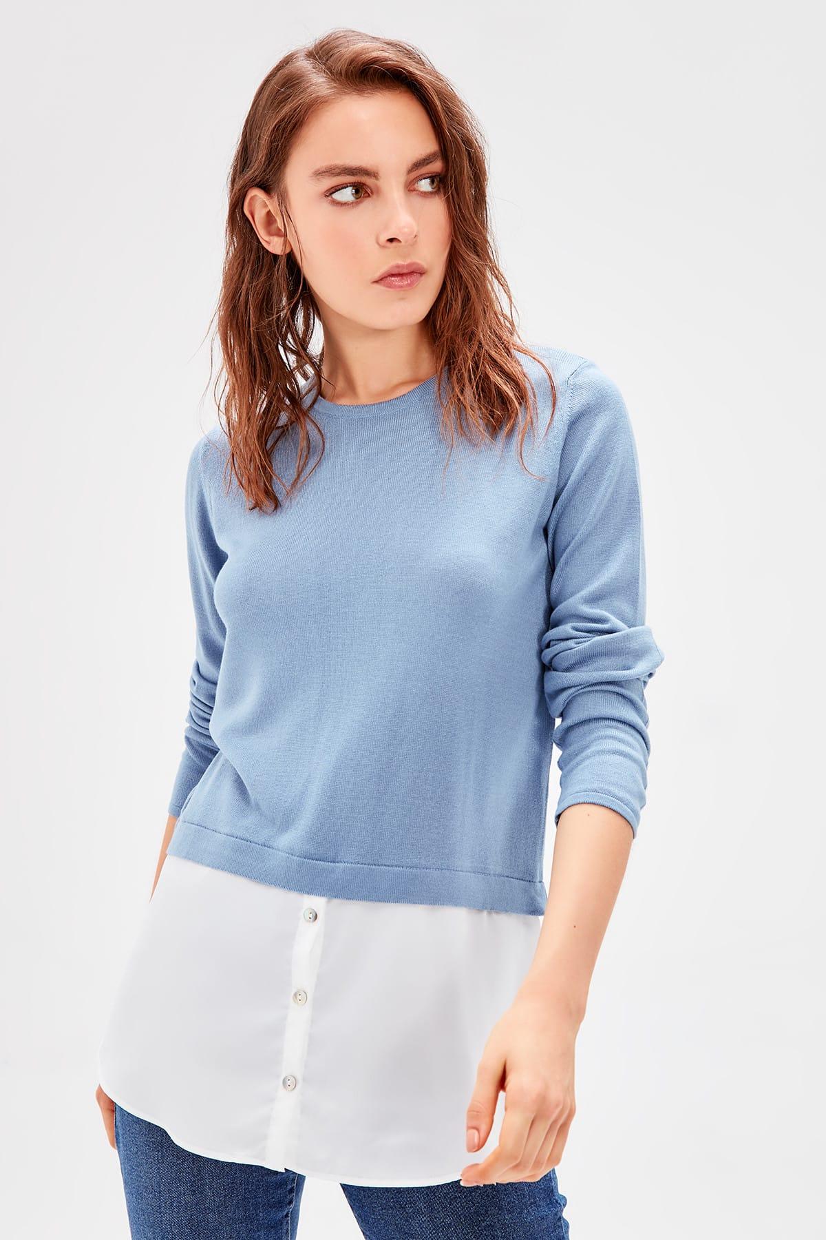 Trendyol WOMEN-Blue Chiffon Detailed Knitwear Sweater TWOAW20HB0001