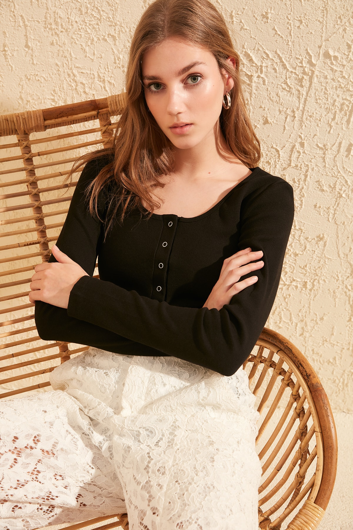 Trendyol Ribbed Square Collar Knitted Blouse TWOSS20BZ0683