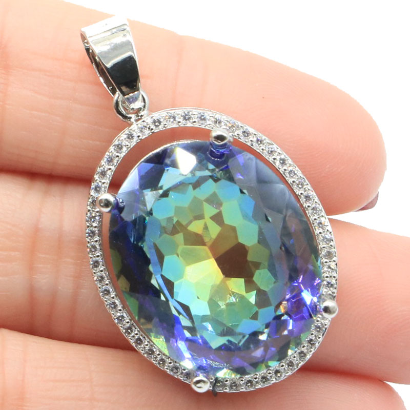 37x22mm Luxury 22x18mm Created 10.8g Fire Rainbow Mystic Topaz White CZ Gift For Ladies European Style Silver Pendant
