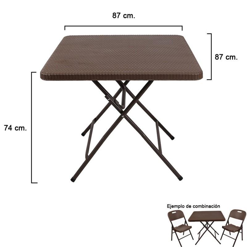Square Folding Table Brown 87x87x74 Cm.