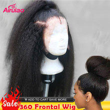 360 HD Lace Frontal Human Hair Wigs Kinky Straight 13X6 Lace Front Wig Yaki Nature Colored Full Women Bleached Knots 30 Inches