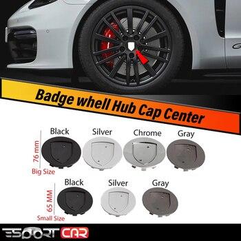 ESPORTCAR 1pcs 65MM 75MM 76MM 10Clips 3D Gold or Silver Crest Logo Badge Wheel Center Hub Cap Cover Emblem Rims For Porsch