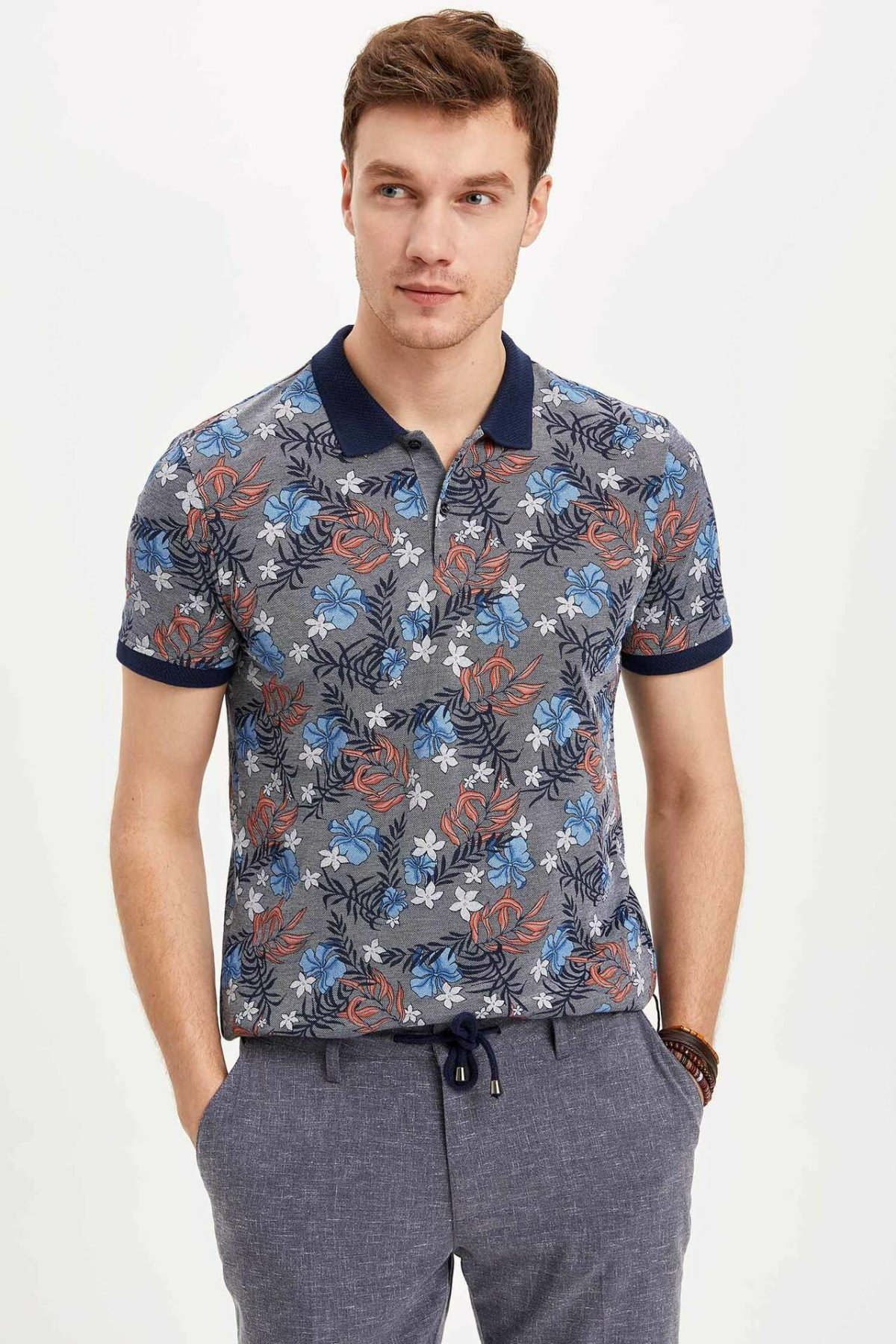 DeFacto New Summer Man Fashion Polo Shirt Men's Casual Print Pattern Tops Male Cotton Comfort Short Sleeves - K3969AZ19SM