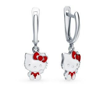 Silver earrings with enamel sunlight sample 925