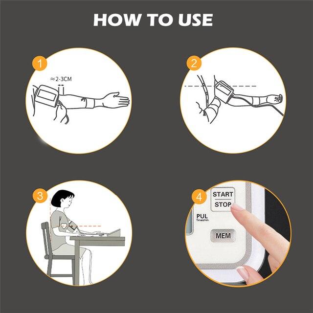 Health Care BP Sphygmomanometer Automatic Portable Blood Pressure Monitor Upper Arm Tonometer for Measuring Arterial Pressure