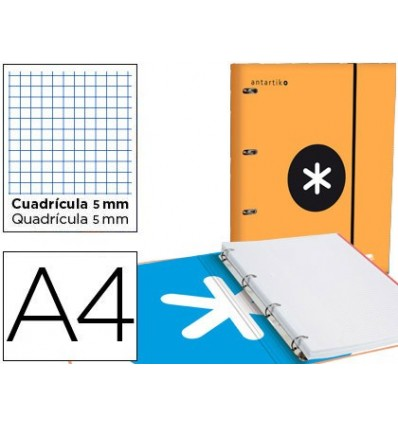 FOLDER WITH SPARE PARTS AND LAPEL LEADERPAPER ANTARTIK A4 TABLE 5 MM LINED 4 RINGS ROUND 40MM ORANGE COLOR
