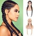 Парик с плетеной сеткой спереди, африканский парик без клея, парик с косичками, женский парик с плетеной сеткой, синтетический парик с плете...