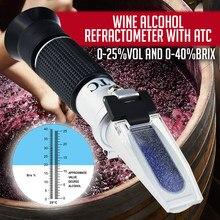 Druif Vruchtensap Alcohol Refractometer Met Atc, Dual Schaal 0-25% Vol 0-40% Brix, handheld Optische Meter Tester Voor Wijnmakers