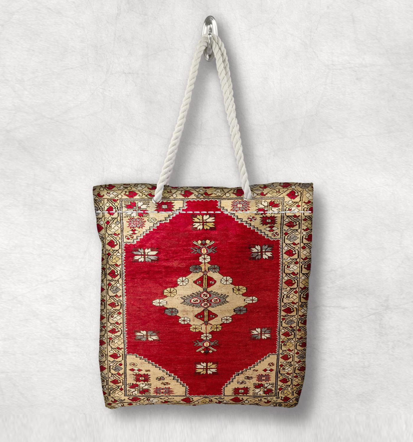 Else Yellow Red Retro Anatolia Antique Kilim Design White Rope Handle Canvas Bag Cotton Canvas Zippered Tote Bag Shoulder Bag