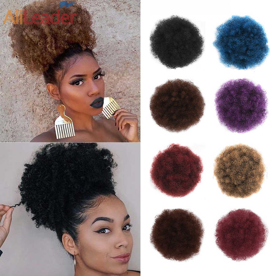 Alileader High Quality Hair Buns Puff Afro Curly Wig Ponytail Synthetic Kinky Pony Tail Buns Drawstring Hair Bun For Black Women Synthetic Chignon Aliexpress