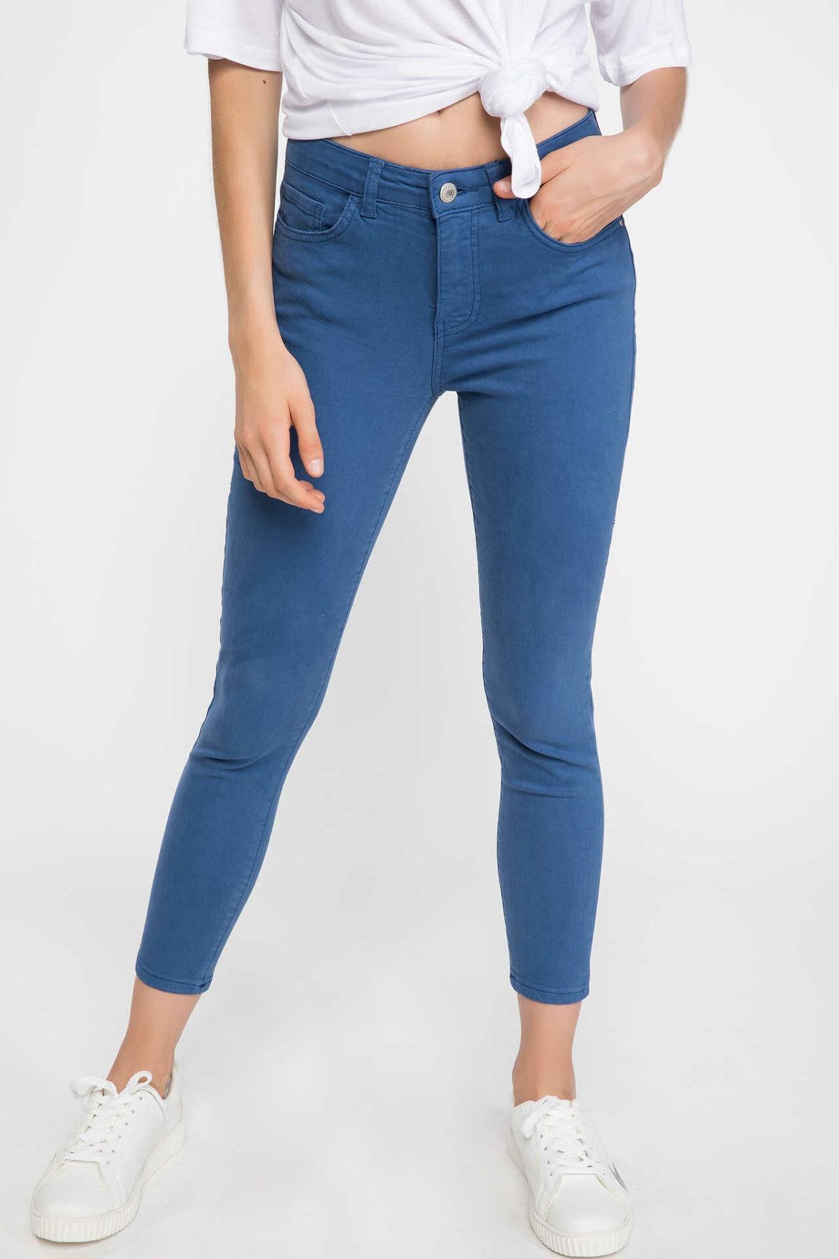 DeFacto Fashion Women Solid Slim Jean Trousers Female Casual Pants For Women's Cotton Pencil Crop Pants - K1692AZ18AU