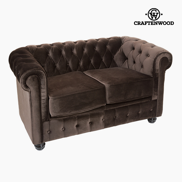 2 Seater Chesterfield Sofa Velvet Brown - Relax Retro Collection By Craftenwood