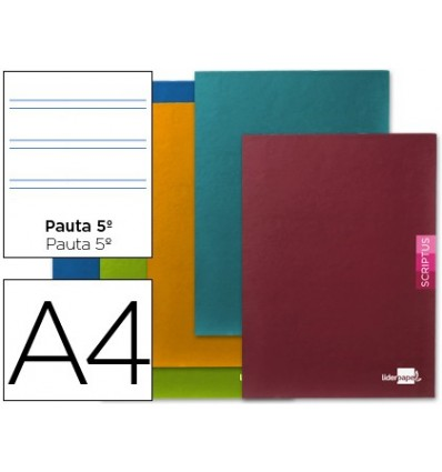 NOTEPAD LEADERPAPER SCRIPTUS A4 48 SHEETS 90G/M2 PATTERN 5th 25MM MARGIN 5 PCs