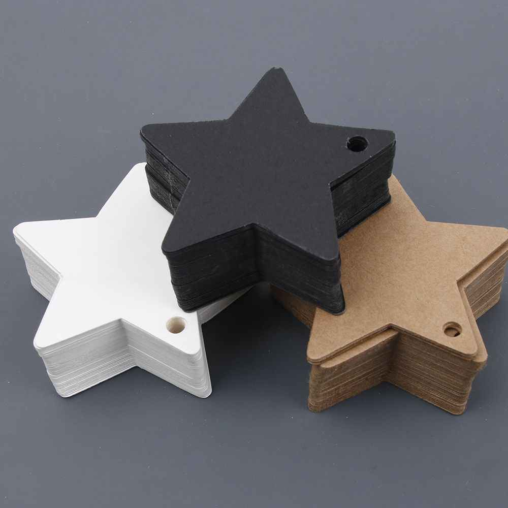 50Pcs Star Kraft Paper Label Wedding Christmas Halloween Party Favor Price Gift Card Luggage Tags White Black Brown 3Colors