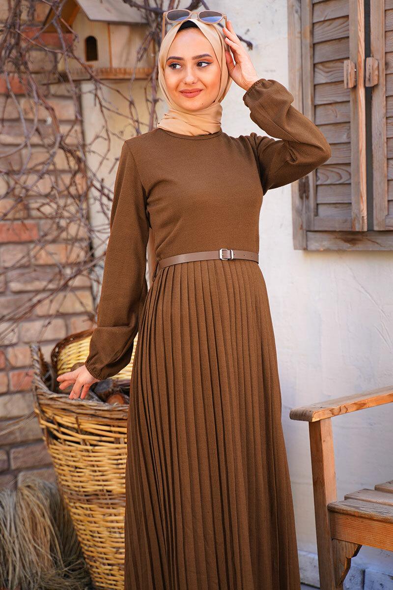 Knitwear Pleated Women s Maxi Dress Modest Big Size Islamic Clothing Muslim Fashion for winter Dresses