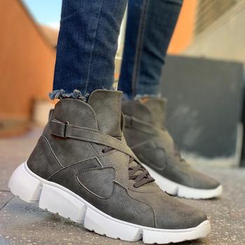 Chekich Boots for Men Grey Side arched Snow Boots Shoes Boot Men #8217 s Fashion Plus Size Ankle Men Sneakers Shoes Made in Turkey tanie i dobre opinie YT HG Podstawowe TR (pochodzenie) Sztuczna skóra Dla dorosłych Z wełny Flanelowe Okrągły nosek Buty Korka Zima Med (3 cm-5 cm)
