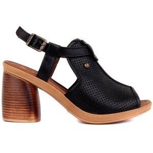 Image 1 - פייר קרדן אמיתי עור נשים סנדלי קיץ נוח סיבתי נעלי אישה בוהן ציוץ עקבים גבוהים תחתון אופנה אמא גבירותיי סנדלי Sandalias Mujer גודל 36 40 2019 חדש