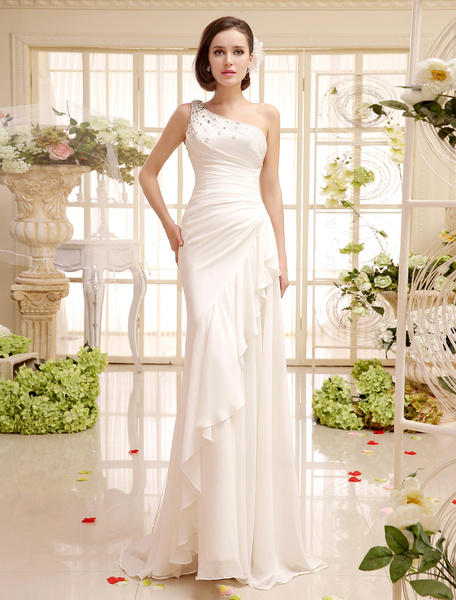 Wedding Dress For Bride With Sheath One-Shoulder Side Draping Chiffon